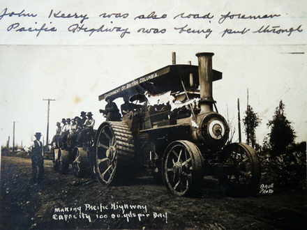 Steam tractor construction of Pacific Highway