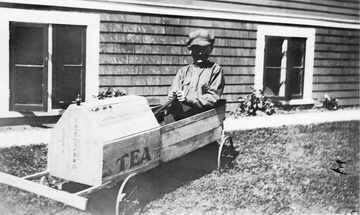 Harry Parr in his soapbox car