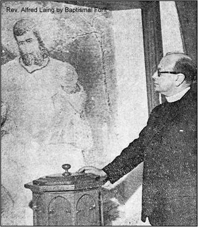 Rev. Alfred Laing at the Baptistery