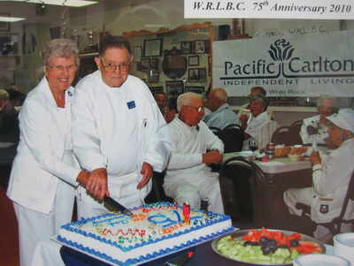 Cutting the 75th Anniversary Cake