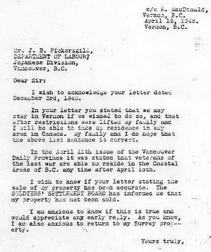 Letter of J.B. Pickersgill